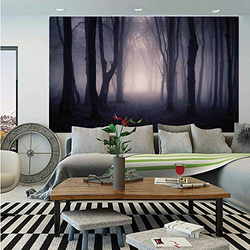 Farm House Decor Huge Photo Wall Mural,Path Through Dark Deep in Forest with Fog Halloween Creepy Twisted Branches Picture,Self-adhesive Large Wallpaper for Home Decor 108x152 inches,Pink Brown -