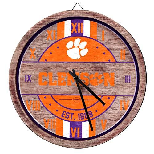 FOCO NCAA Clemson Tigers Team Logo Wood Barrel Wall ClockTeam Logo Wood Barrel Wall Clock, Team Color, One Size