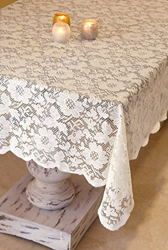 Way Home Fair Tablecloth Lace Square Ivory ()