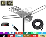 TV Antenna - 90% Pre-Assembled 150 Miles Range Outdoor Motorized 360 Degrees Amplified HDTV Antenna for 2 TVs Support - UHF/VHF 4K 1080P Channels Wireless Remote Control - 39FT Coax Cable