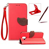 Strap Leather Case for Samsung Galaxy A6 2018,Red Wallet Flip Cover for Samsung Galaxy A6 2018,Herzzer Classic Unique Magnetic Leaf Buckles Design Full Body Card Slots Stand Folio Synthetic Leather Case with Soft Silicone