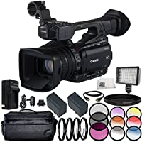 Canon XF205E HD Camcorder (PAL) 12PC Accessory Kit – Includes 3 Piece Filter Kit (UV + CPL + FLD) + 4PC Macro Filter Set (+1,+2,+4,+10) + MORE