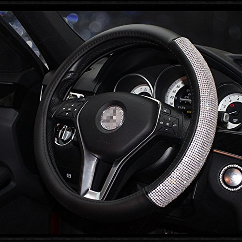 Dotesy Bling Auto Steering Wheel Cover with Crystals, Rhinestones Handcraft Genuine Leather Car Steering Wheel Cover Protector For Women, Lady All-Weather Universal 15 inch,Black