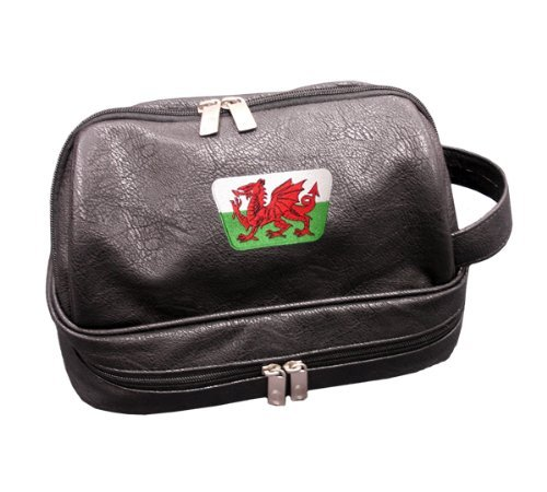 Asbri Golf Patriot Wales Crested Leatherette Wash Bag Golf by Asbri Golf