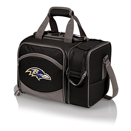 Baltimore Ravens Picnic Basket Set For 2 Wine Tote