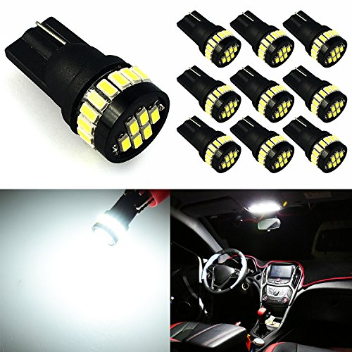 JDM ASTAR 10pcs Super Bright 360-Degree Shine 194 168 175 2825 T10 24-EX Chipsets LED Bulbs,Xenon White (Interior Use Only)