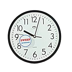 Telesonic Black Quartz Wall Clock w/Quiet Sweep Second Hand