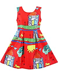 Sunny Fashion Girls Dress Tree House Cat Butterfly Bird Flower Print