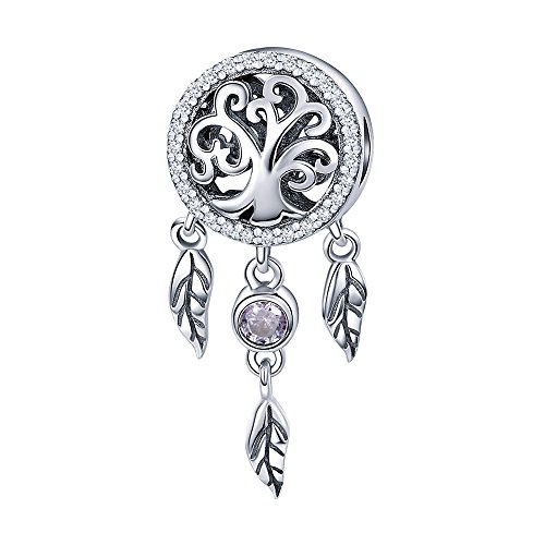 - ANGELFLY 925 Sterling Silver Filigree Tree of Life Symbol Dream Catcher Charm Hanging Feathers Long Tassel Charm Beads for Snake Bracelets
