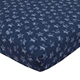 Disney Mickey Mouse Hello World Star/Icon 100% Cotton Fitted Crib Sheet, Navy, White