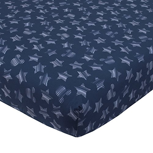 Disney Mickey Mouse Hello World Star/Icon 100% Cotton Fitted Crib Sheet, Navy, -