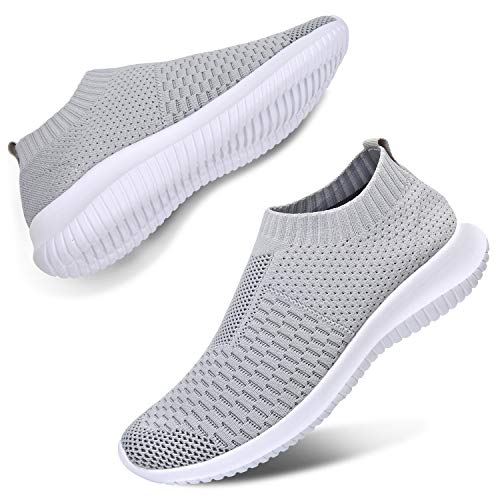 JIASUQI Classic Sports Running Volleyball Casual Shoes Fashion Sneakers for Woman Girl Grey 10.5