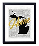"""Michigan Home Gold Foil Art Print - Vintage Dictionary Reproduction Art Print """"Home"""" Definition 8x10 inches Unframed"""