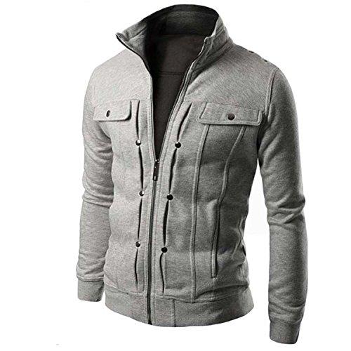 MRstriver Jacket Causal Men's Coat Zipper Tracksuit Jacket Spring Autumn Mens Jackets and Coats New Gray ()