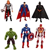 6pcs Marvel Avengers Hulk Captain Wolverine Batman Spiderman Figure Collection