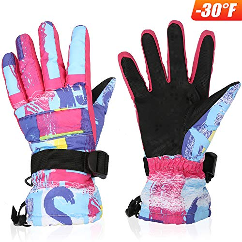 Muuttaa Ski Gloves, Winter Warmest Waterproof Breathable Snow Gloves for Mens,Womens,Ladies and Kids Skiing (Mix Red, M (Fits Womens Size))