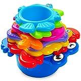 aGreatLife® Mis Primeros Vasos Apilados: El Mejor Juguete Educacional para Baño para Bebés e Infantes – Animales del Fondo del Mar Divertidos con Colores Vibrantes – Con Pegatinas Gratis de Todos los Colores