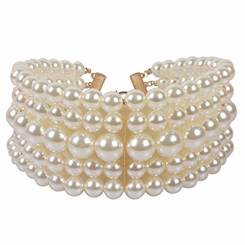 5 Strand Pearl Bracelet - KOSMOS-LI 5 Layer Ivory Imitate Pearl Choker Necklace
