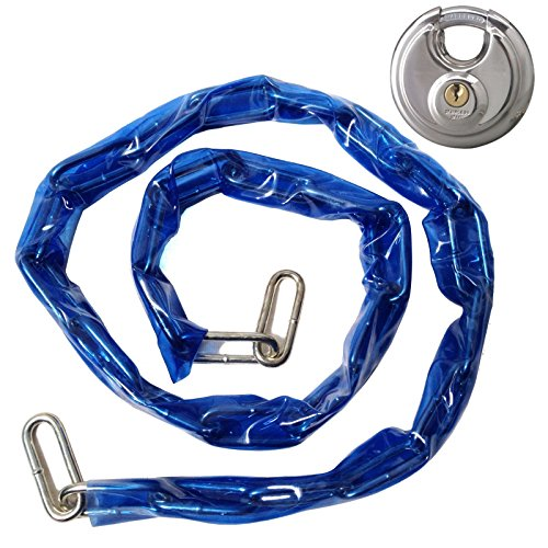 """Heavy Duty 48"""" Coated Metal Chain & Lock - Bicycle Security Anti-Theft Lockset with Disc Padlock"""