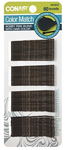 Scunci Color Match Bobby Pins with Slide-On Opener | Brunette | 1-Pack of 60-Pieces