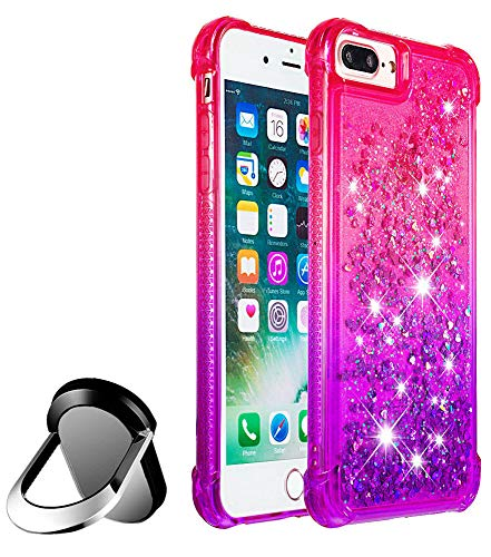 - Glitter for iPhone 8 Plus Case/iPhone 7 Plus Case, JanCalm Gradient Bling Case Cover for Girls Woman Clear TPU Bumper Cushion Reinforced Corners Protective + Finger Ring Kickstand (Pink/Purple)