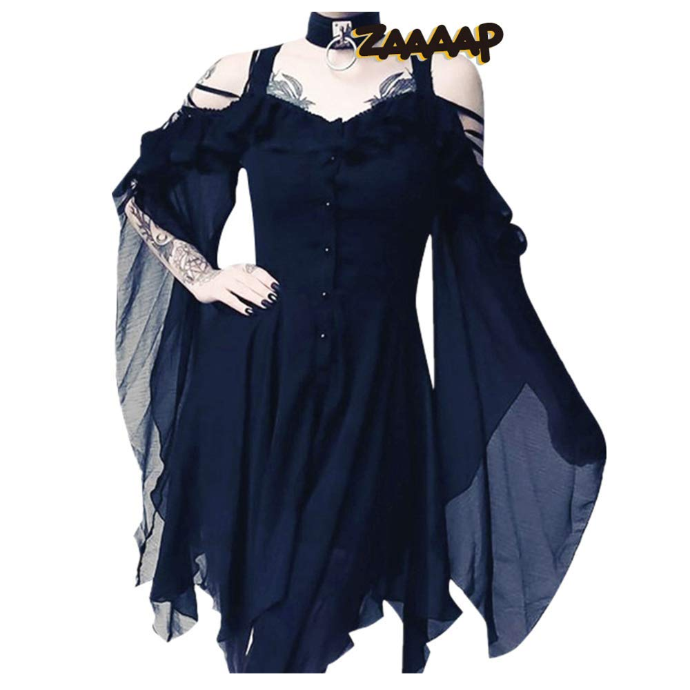 Women's Victorian Gothic Boho Witchy Dress Ruffle Sleeves Off Shoulder Retro Gown Cosplay Festivals Navy by sweetnice Women Dresses
