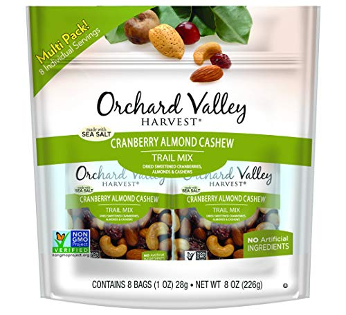 ORCHARD VALLEY HARVEST Cranberry Almond Cashew Trail Mix, Non-GMO, No Artificial Ingredients, 1 oz (Pack of 8)