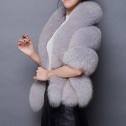 Caracilia Warm Faux Fur Wedding Shawl Coat for Wedding/Party/Show Gray2 CA89