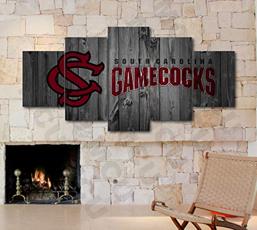 5 Piece American Football College University Teams Art Decor Wall Poster (5 Piece Medium, South Carolina Gamecocks)