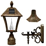 Gama Sonic Baytown Solar Outdoor LED Light Fixture, Pole/Post/Wall Mount Kit, Weathered Bronze Finish #GS-106FPW-WB
