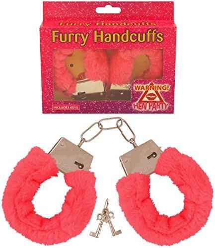 Henbrandt - Plüsch Handschellen in Rot Schwarz und Rosa mit Schlüssel - Rosa