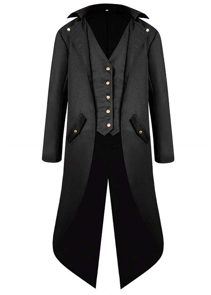 Men's Vintage Tailcoat Jacket Steampunk Gothic Victorian Halloween Costume Cosplay Frock Coat Uniform