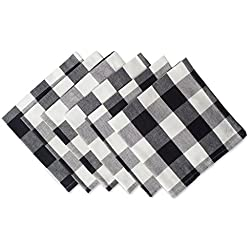 "DII Cotton Buffalo Check Oversized Basic Cloth Napkin for Everyday Place Settings, Farmhouse Décor, Family Dinners, BBQ's, and Holidays (20x20"", Set of 6) Black & White"