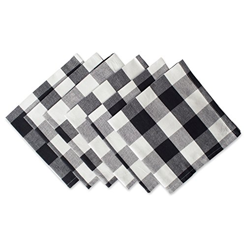 Dii Cotton Buffalo Check Oversized Basic Cloth Napkin For Everyday Place Settings Farmhouse Decor Family Dinners Bbq S And Holidays 20x20 Set Of 6 Black White