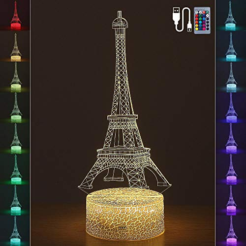 3D Illusion Eiffel Tower Lamp, LED Bedside Night Light for Boys and Girls, Nice Gift for Kids,16 Colors, 6 Level Brightness, Battery Operated or USB Powered, Remote Control or Button Touch Control ()