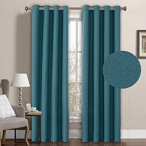 H.VERSAILTEX Premium Room Darkening Thermal Insulated Bedroom Curtains,Grommet  Linen Look Primitive Curtain Panels,52 X 96 Inch Aegean Blue (Set Of 1)
