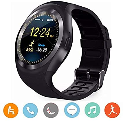 CanMixs Y1 Smart Watch Bluetooth Wristwatch Round Touch HD Screen with SIM & TF Card Slot,Pedometer,Sleep Moniter,SMS,Call and Sedentary Reminder for ...