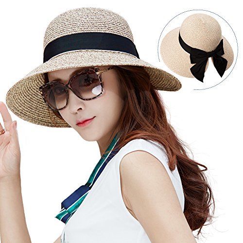 67f91a5ef6822 Siggi Womens Floppy Summer Sun Beach Straw Hat UPF50 Foldable ...