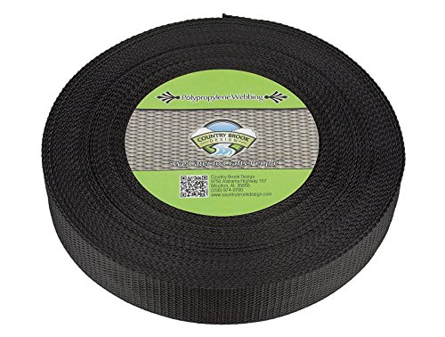 Horse Country Design - Country Brook Design | 1 1/2 Inch Black High Tenacity Polypro Webbing, 50 Yards