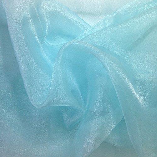 Sparkle Crystal Sheer Organza Fabric Shiny for Fashion, Crafts, Decorations 60 (Aqua, 10 YARD)