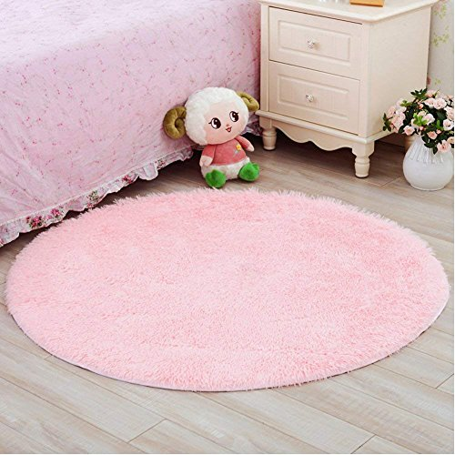 Junovo Round Fluffy Soft Area Rugs for Kids Room Children Room Girls Room Nursery4 Feet4FeetPink