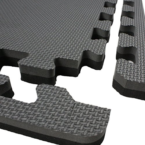 IncStores - Jumbo Soft Interlocking Foam Tiles (16 Tiles, Black/Grey) Perfect for Martial Arts, MMA, Lightweight Home Gyms, p90x, Gymnastics, Cardio, and Exercise by IncStores (Image #3)
