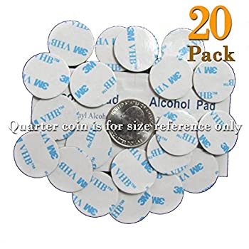 20 of VHB 3M Adhesive Double-Sided Tape High Bond Dots Conformable Acrylic Glue Replacement Kit 20 of 0.94 inch Circle Small Round Plus Alcohol Pad