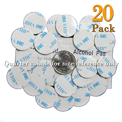 (20 of VHB 3M Adhesive Double-Sided Tape High Bond Dots Conformable Acrylic Glue Replacement Kit 20 of 0.94 inch Circle Small Round Plus Alcohol Pad)