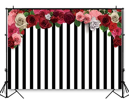Funnytree 7X5 Feet Soft Durable Fabric Floral White and Black Stripes Backdrop Wedding Colorful Flowers Roses Bridal Shower Photography Background Sweet 16 Birthday Party Banner Photo Booth Studio (Stripes Anniversary)