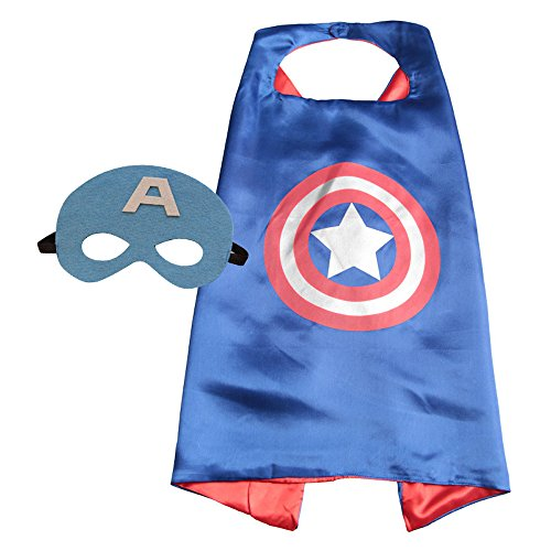 Superhero Halloween Party Cape and Mask Set for Kids Captain America (Captain America Costume And Prime)