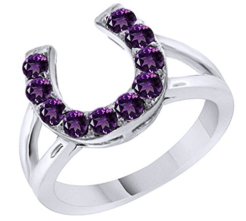 Round Cut Simulated Amethyst Horseshoe Ring in 14k White Gold Over Sterling Silver (0.46 Cttw) -