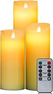 HIFROM LED Flameless Candles Set with Remote Control Timer Real Wax Pillars AAA Battery Operated Realistic Flickering Candles (7 Inch, 8 Inch, 9 Inch) - Set of 3