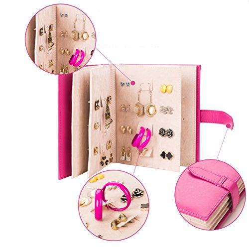 Museya Novelty Folding 42 Pairs Earrings Ear Studs Jewelry Display Holder Storage Organizer (Rosy)