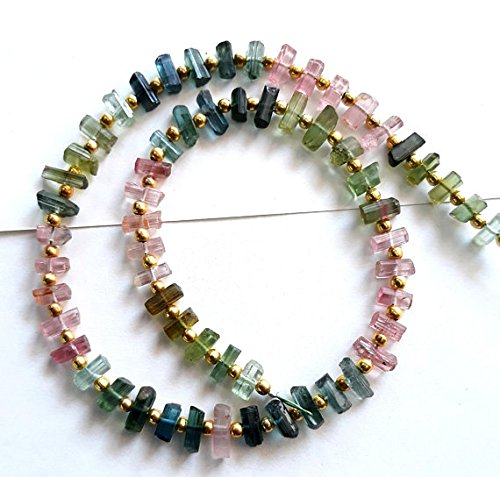 - Full 10 inch strand pink,green,blue crystals, Natural multi TOURMALINE MINERALS ,sticks, 4 -- 7 mm